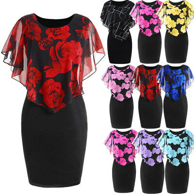 Women Ladies Plus Size Rose Print Vintage Cocktail Evening Party Prom Mini Dress