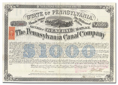 Pennsylvania Canal Company Bond Certificate Signed by Civil War General Wistar