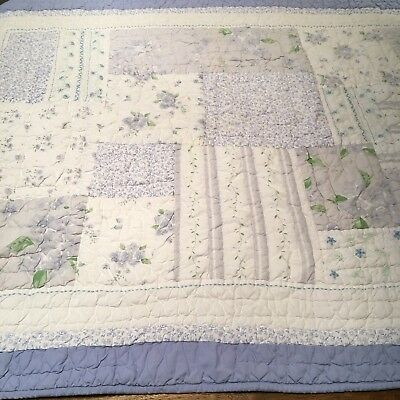 Pottery Barn Kids Crib Toddler Bed Blue Floral Patchwork Style Quilt Blanket