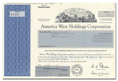 America West Holdings Corporation Stock Certificate (Great Vignette)
