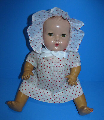 """1950's Dimity Red Dot Organdy DRESS and Ruffled BONNET for 15"""" Dy-Dee Baby MINT!"""