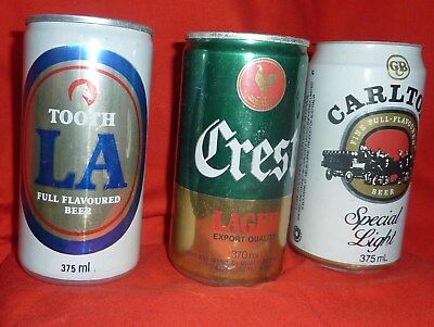 Crest Lager, Tooth LA, Carlton Special Light - Collectable Cans - Australian