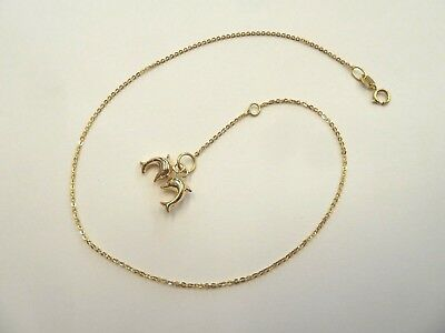 9ct Gold Double Dolphin Lightweight 25cm long Anklet