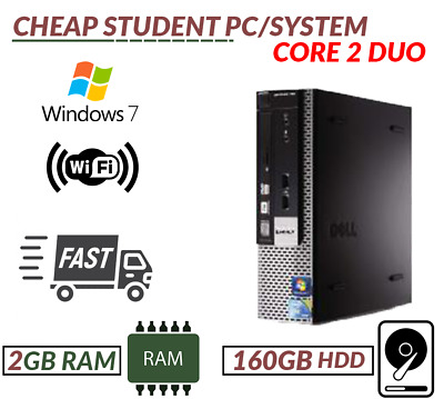 Fast Cheap Student Pc/System Intel Core 2 Duo Dvd-Rw Wifi Enabled Fast Courier