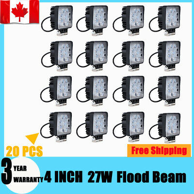 20X 4INCH 27W LED Work Light Flood Truck Driving Fog Lamp Square 4WD Jeep Boat