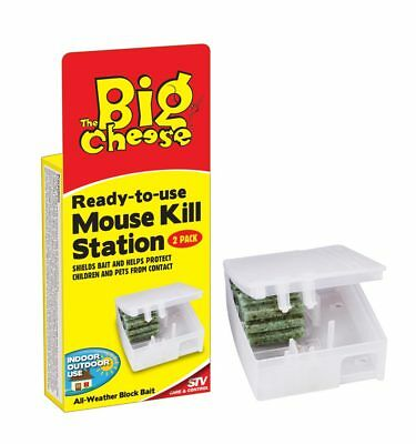 Mouse Kill Station Twinpack - Poison Bait in Secure Box - Safe for Kids & Pets