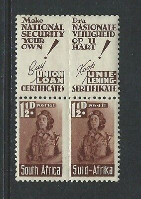 SOUTH AFRICA - #92 - 1 1/2d WAR EFFORT PAIR WITH BUY UNION LOAN CERTIFICATES TAB