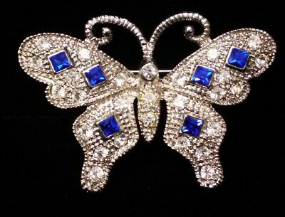 Vintage ART DECO Butterfly w/clear and Sapphire color Rhinestone Brooch Pin