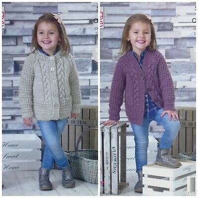 KNITTING PATTERN Girls Round & V-Neck Cables Cardigan Aran King Cole 5062
