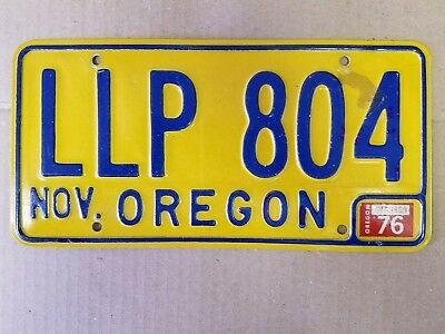 Oregon1976 license plate November  preowned expired