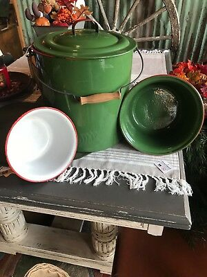4 Piece Lot ** Vintage Enamelware: Indian Dowry Antiques FREE SHIPPING!!!