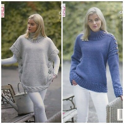 KNITTING PATTERN Ladies Lace Cable Poncho & Cable Jumper Aran King Cole 5154