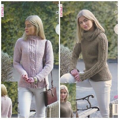 KNITTING PATTERN Ladies Long Sleeve Cable Jumpers & Cowl Aran King Cole 5155