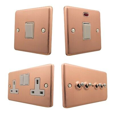 Bright Copper CBCW Plug Sockets, Light Switches, Dimmers, Cooker, TV, Fuse