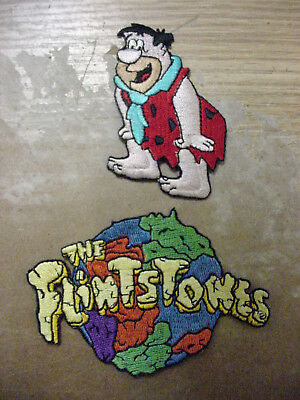 LOT of 2 the flintstones  + Fred embroidered patch---- IRON ON/ SEW ON  -new