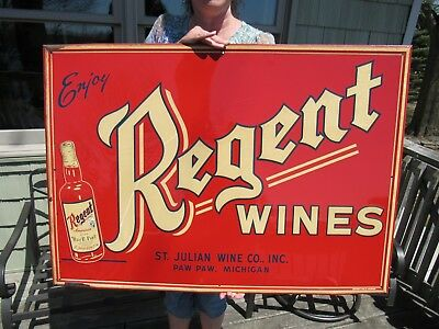 Original Regent Wines Paw Paw Mi Embossed Tin Lithograph Sign With Smaltz Paint
