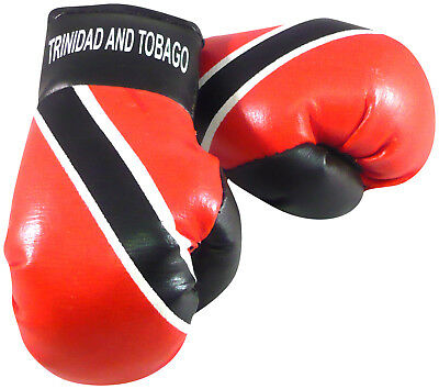 TRINIDAD & TOBAGO Flag Mini Hanging Boxing Gloves Ideal for the Car NEW PAIR