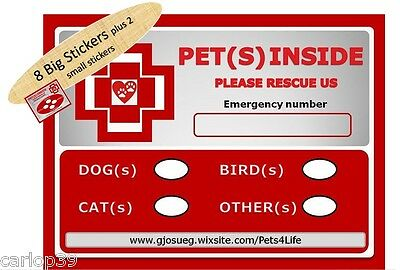 8 Safety Emergency, Rescue or Fire Stickers. Pet Alert warning, 10% for Charity