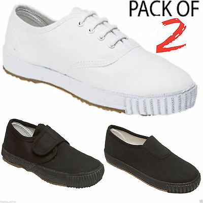 2 Pack Boys Girls Unisex School Pe Gym Sports Trainers Pumps Plimsolls Shoes New