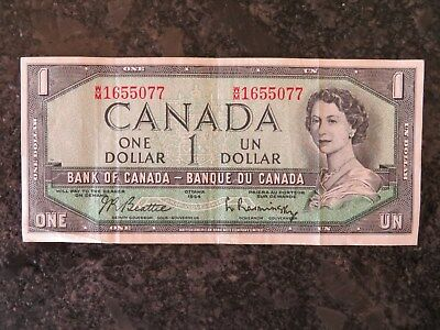 1954 Bank Of Canada One 1 Dollar Bank Note Wm 1655077 Nice Bill