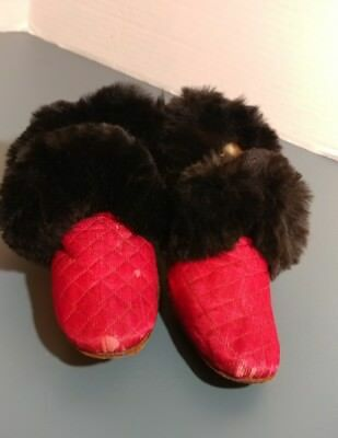 antique vintage little girls dress shoes leather sole silk and fur