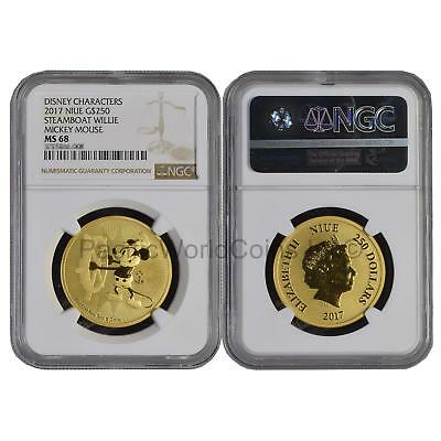 Niue 2017 Disney Characters Steamboat Willie Mickey Mouse $250 1oz Gold NGC MS68