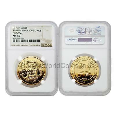 Singapore 1988 Year of the Dragon 100 Singold 1 oz Gold NGC MS64 SKU#5675
