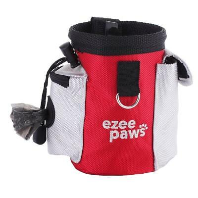 Dog Puppy Treat Snack Bag with Poo Holder, Training Belt Clip by Ezee Paws (Red)
