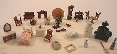 Miniature Dollhouse Furniture Lot 1 144 Scale Burgundy Living Room Bedroom 30pcs