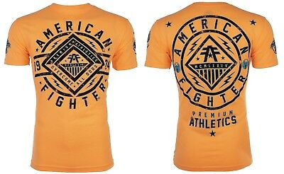 AMERICAN FIGHTER Mens T-Shirt BIRCHWOOD Athletic NEON ORANGE Biker Gym UFC $40