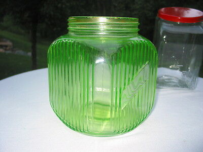 Vintage Hoosier Green Ribbed Depression Glass Countertop Store Candy Display Jar