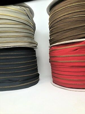 200 Yd Zipper Chain Kit, #5 Zipper Tape, Sliders+Stoppers Navy, Red, Grey, Brown