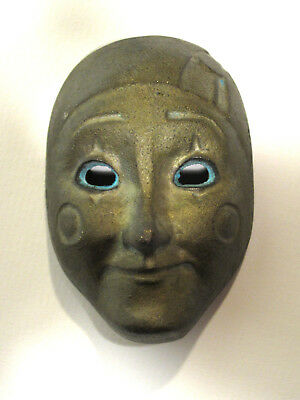 Unique Vintage Original Little Antique Brass Mask - Expressive Face!