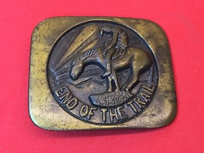 vintage brass Tone? End of the Trail  belt buckle  - cowboy Head down sunset