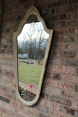 """Antique Sculpted Wood Mirror Distressed Paint 1921 Large VTG Etched Mirror 41"""""""