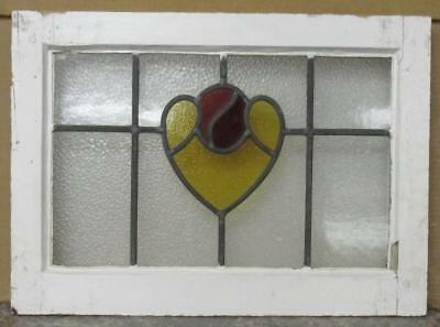 "OLD ENGLISH LEADED STAINED GLASS WINDOW Floral Heart 19.5"" x 14.25"""
