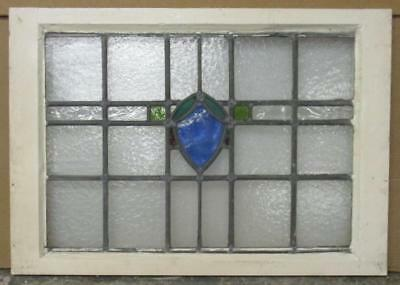 "LARGE OLD ENGLISH LEADED STAINED GLASS WINDOW Geometric Shield 29.25"" x 20.5"""