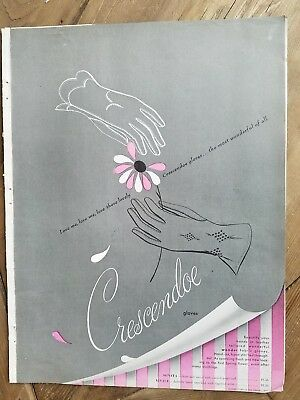 1949 Crescendoe when months Wonder fabric gloves vintage fashion ad