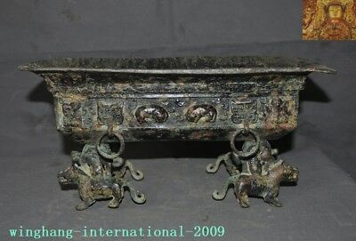Antiques Chinese dynasty Bronze ware beast statue Text Tableware Pot Pots Crock