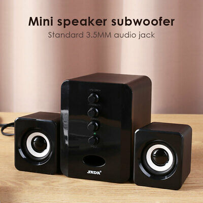 USB Wired 2.1 Computer Speakers with Subwoofer 3.5mm Jack for Desktop Laptop PC