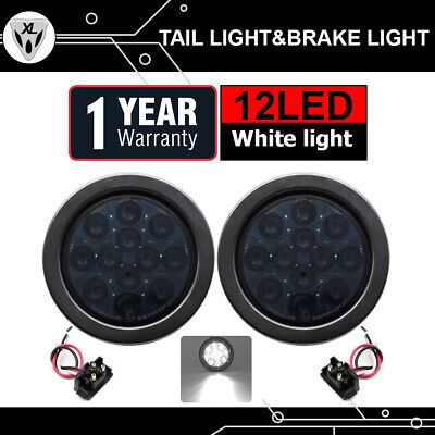 "2x White Clear Lens 4"" Tail Lamp Turn Signal Light Tow RV Trailer 12 LED Reverse"