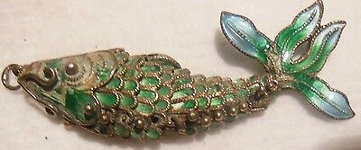 """Rare pendant enamelled antique """" fish articulated """" - solid silver"""