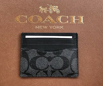 New Coach Men's Signature Pvc/leather  Id Card Case Charcoal/black F58110