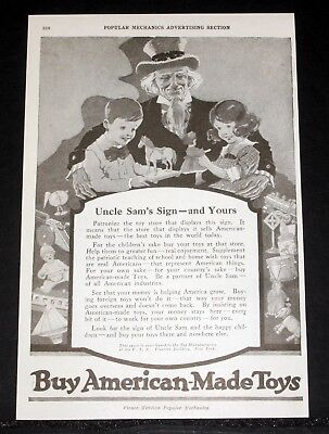 1919 Old Magazine Print Ad, Toy Manufacturers, Buy American Made Toys Uncle Sam!