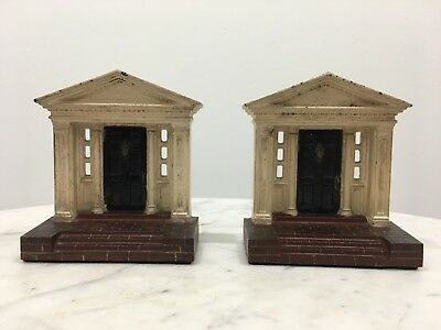 House Brick Porch Traditional Colonial Door Book Ends Cast Iron Pair