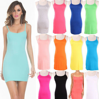 Women Stretchy Camisole Spaghetti Strap Long Tank Top Layering Wrap Summer Dress