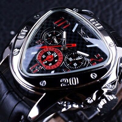 Genuine Mens Automatic Mechanical Waterproof Leather Strap Sports Wrist Watches