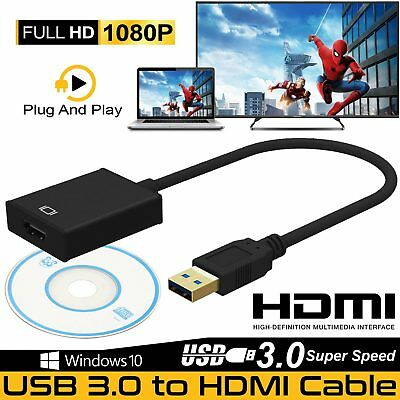USB 3.0 to HDMI Display Graphic Adapter Converter Cable 1080 HD For PC Laptops