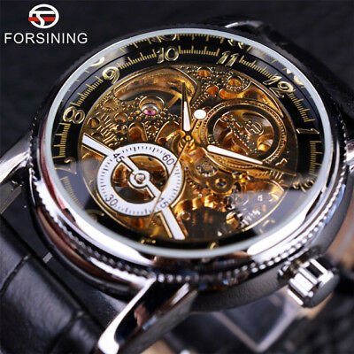 Vintage Mens Forsining Luxury Gold Automatic Skeleton Steampunk Watch Boxed Gift