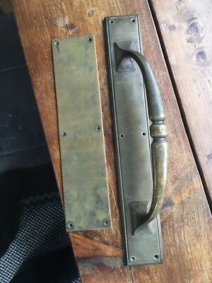 Xl Brass Art Nouveau Victorian Door Handle Pull Push Plate Period Antique Old